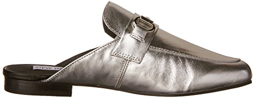Steve Madden Womens Kandi Slip-On Loafer Silver Leather