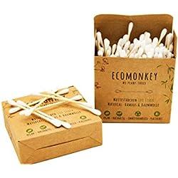 ECOMONKEY® ♻ Bambus Wattestäbchen + Box mit 200 Stück + vegan + nachhaltig + plastikfrei + biologisch abbaubar + umweltfreundlich + aus Holz