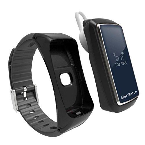 TPulling Mode Blut Sauerstoffdruck Pulsmesser Schrittzähler Smart Watch Bluetooth Kopfhörer Tracker Wasserdichte Fitness Armband Sport mit Android iOS Leder (Silber) (schwarz)