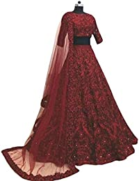 kkc taffeta silk lehengha choli for women with blouse piece (red)