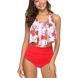 KPILP Femme Maillot de Bain Sexy Bikini 2 pièces - Femme Printemps et Eté Les Loisirs La Mode Imprimé bohémien Confortable Polyester en Vrac Femme Maillots de Bain 2 Pièces (Rouge-1,FR-40/CN-XL)