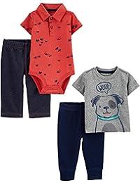 Simple Joys by Carter's - Conjunto de Body de 4 Piezas, Camiseta y pantalón para niño