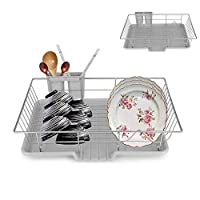 SOULONG Dish Rack, Metal Dish Storage Rack Holder, Kitchen Dish Drainer Utensils Tableware Holder Drying Tray For Plates Cups Spoons 48 x 30 x 11cm