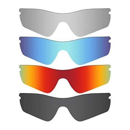 MRY 4Paar Polarisierte Ersatz Gläser für Oakley Radar Path sunglasses-stealth schwarz/fire rot/ice blau/silber titan