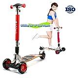 RISILAYS Athletisch DREI-Drift-Roller Erwachsenes Scooter Fitness im Freien Dreirad mit verstellbarem Lenker Kinderroller, der sichere Premium faltbar belastbar Geeignet für Jugend Kind