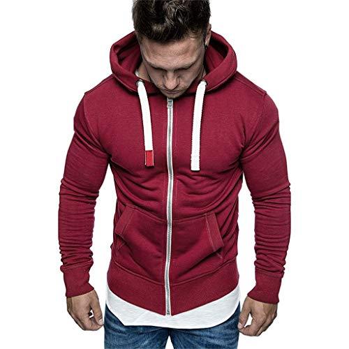 Felpe da Uomo Slim Fit Felpe Uomo Oversize Casual Manica Lunga Pullover Tops Autunno Inverno Solido/Stampa Loose Hooded Felpa(Rosso 6,3XL)