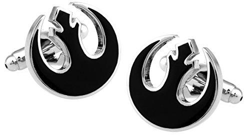 Gemelos de Star Wars Rebel Alliance símbolo negro en caja de regalo