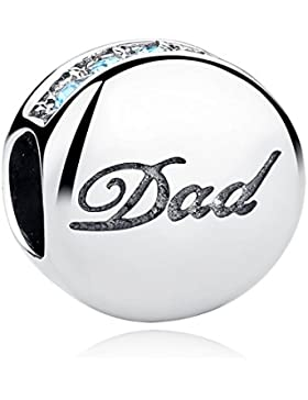 925 sterling silber blaue kristalle Vater Dad Gravur Charm Perlen Anhänger fit armbänder armreifen DIY Schmuck...