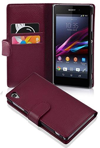 Cadorabo Hülle für Sony Xperia Z1 - Hülle in Bordeaux LILA - Handyhülle mit Kartenfach aus struktriertem Kunstleder - Case Cover Schutzhülle Etui Tasche Book Klapp Style
