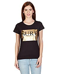 United Colors of Benetton Womens Printed T-Shirt (15A3096E9893I100_Black_S)