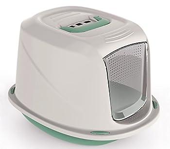 10586 Maison de toilette pour chats GALAXY 45x36x31,5 cm avec palier pour nettoyer le poil (Vert)