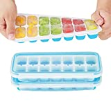 IKICH Ice Cube Trays with Locking Lids,【Unique】Easy-Release Silicone Ice Trays 2 PCS Stackble
