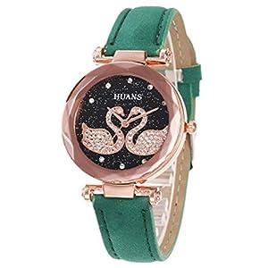 Digitaluhr Für Kinder, Sternenhimmel Freizeit PU Lederband Süß Freizeit Mode Student Glasspiegel wasserdichte Uhr Quarzsimulation Armband