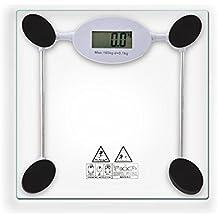 Sunydeal Pèse Personne Numérique 180kg en Verre, Analyseur Corporel, Ecran LCD, Mise en Marche / Arrêt Automatique, Piles Fournies - Transparent