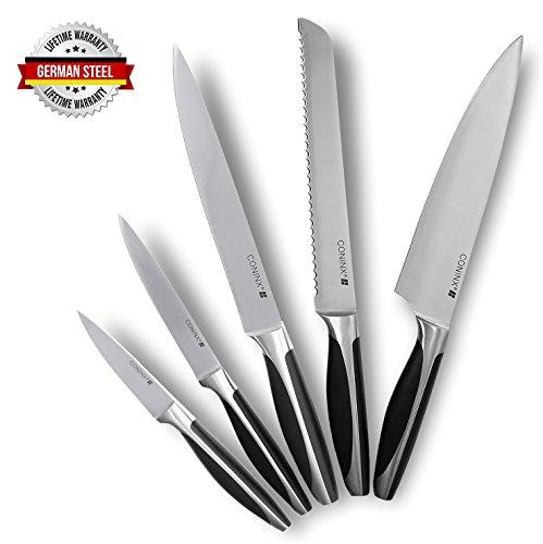 Coninx Messerset Edelstahl Kochmesser, Fleischmesser, Brotmesser, Obst- & Gemüsemesser und Schälmesser | Deutscher Stahl/German Steel | Küchenmesser | Sets |