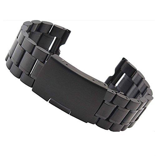 fenrad Nero Acciaio Inox 22mm Cinturino Braccialetto per Motorola moto 360 Smartwatch Watch Orologio Strap Bracelet con Attrezzo--(Solido,Black)