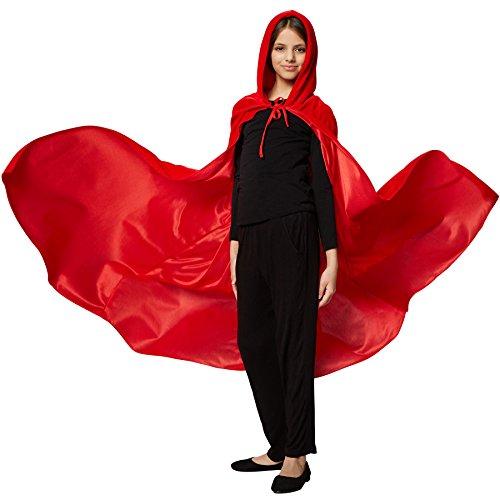 (dressforfun 900369 - Mystischer Umhang mit Kapuze für Kinder, ärmelloser, Langer Umhang mit spitzzulaufender Kapuze (Rot, 74 cm))