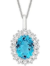 "Silvernshine 2.30 Ct Oval Blue Topaz & D/VVS1 Diamond Halo Pendant With 18"" ChaIn In 14K White Gold Fn"