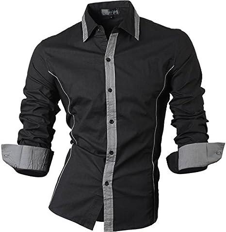 jeansian Herren Freizeit Hemden Shirt Tops Mode Langarmlig Men's Casual Dress Slim Fit Z029 (USA XXL (185-190cm 80kg-85kg), 8015_Black)