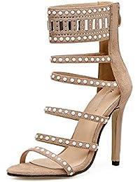Fer Européen et Américain High-Heeled Forage Perlées Sandales Satin Exposés Code Grandes Chaussures Femmes