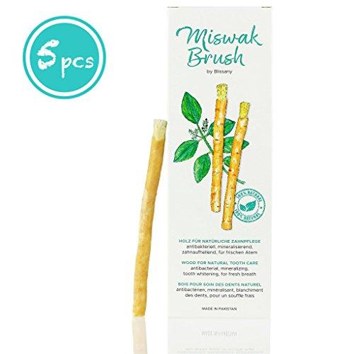 Miswak Brush by BLISSANY - Zahnputzholz - traditionell arabisches Zahnputzholz, Holzzahnbürste, für natürlich weiße Zähne, 5 Stück