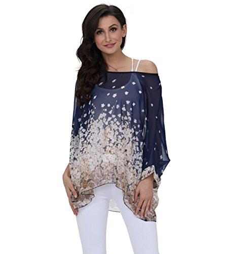 Oksakady camicetta donna estate -blusa in chiffon taglie forti maglia elegante e casual con stampa floreale (one size, boho-4288)