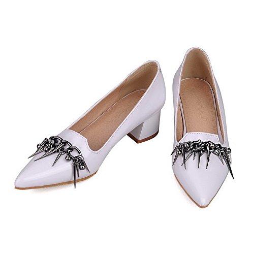 AgooLar Femme à Talon Correct Pu Cuir Pointu Mosaïque Tire Chaussures Légeres Blanc