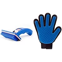 Woofy Combo of 2, Slicker Brush Pet Grooming Glove for Dogs and Cats Shedding Small Medium Large Breeds (Blue) Pet Hair…