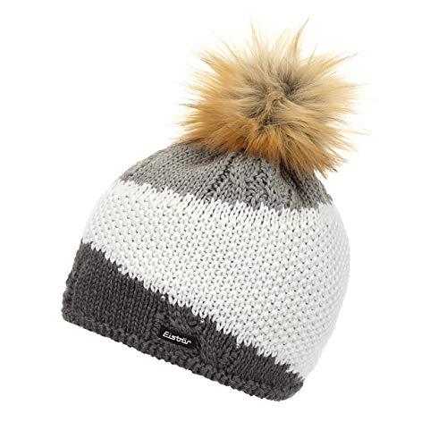 Eisbär Damen Eden Lux Crystal Mütze, anthrazit/White/Graumele AF hb, One Size | 09008132546374