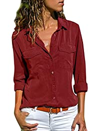 d6d9da81b0fb3 Women Shirt TUDUZ Ladies Casual V Neck Roll Long Sleeve Solid Color Button  Down Shirt Blouse