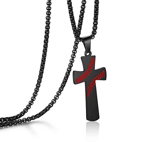 Baseball Edelstahl Kreuz Anhänger Halskette für Jungen oder Männer, I CAN DO All Things Stärke Bibel Vers Anhänger Halskette (Auf Kommunion Bibelverse)