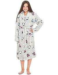 Slumber Hut® Mädchen Penguin Fleece Morgenmantel - Kinder Luxus Vlies mit Kapuze Supersoft Grau Novelty Robe - Größe 7 up to 13 Jahre
