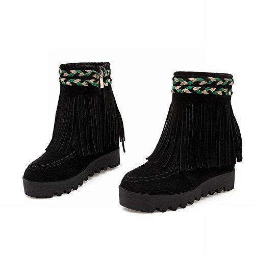 Mee Shoes Damen hidden heel runde Quaste kurzschaft Reißverschluss Ankle Boots Schwarz