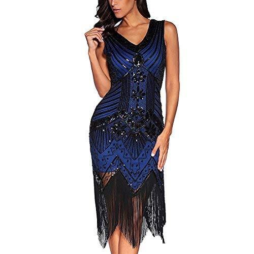 (Comeon Damen Flapper Kleider voller Pailletten Retro 1920er Jahre Stil V-Ausschnitt Great Gatsby Motto Party Damen Kostüm Kleid (Blau, XL))