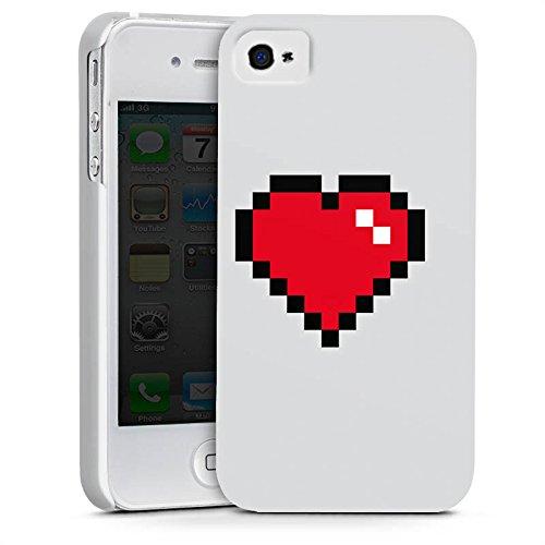 Apple iPhone X Silikon Hülle Case Schutzhülle 8-Bit Heart Herz Liebe Premium Case glänzend