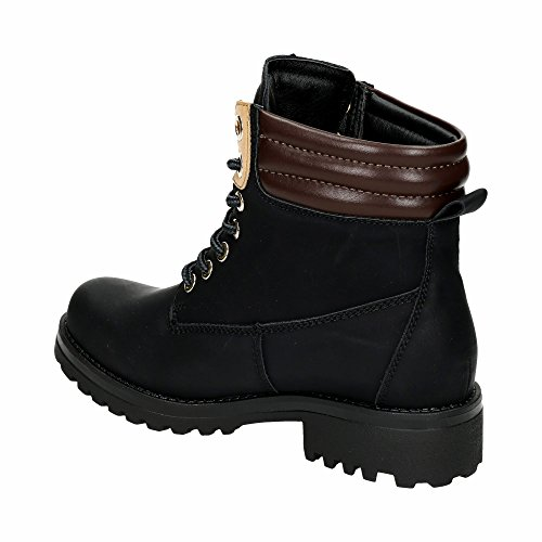 Damen Stiefel Stiefeletten Schnür Trekking Boots Warm Outdoor Wander Profilsohle Worker Schuhe Schwarz