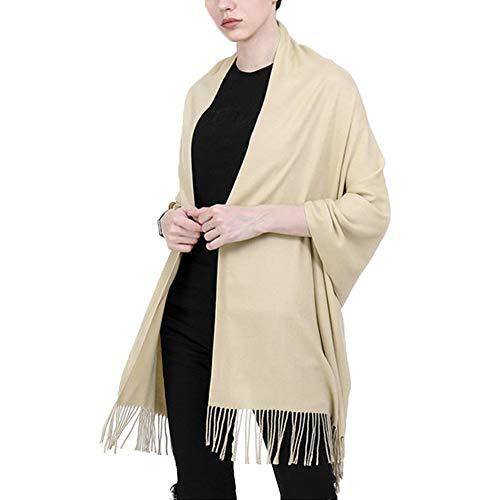 ZDiane Winter Schal Damen Leichtgewicht Baumwolle Taktile Halstücher Weiß Freizeit Einfach Klassischer Deckenschal,Beige