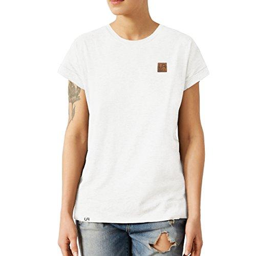urban air StyleFit | T-Shirt | Damen | Sport, Freizeit | 100% Baumwolle, Leder-Patch, Rundhals-Ausschnitt, Kurzarm | Weiß | L | Loose Fit, Leicht - Frauen T-shirt Weißes Pack