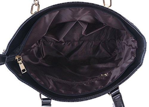 Minetom Ladies Messenger Bag Borsa A Tracolla Con Tracolla Set Di 6 Nero