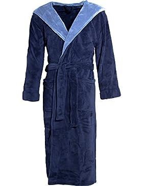 Celinatex Texas 4389, Albornoz Elegante Con Capucha Unisex, Azul (Dark Blue/Medium Blue), XXXL