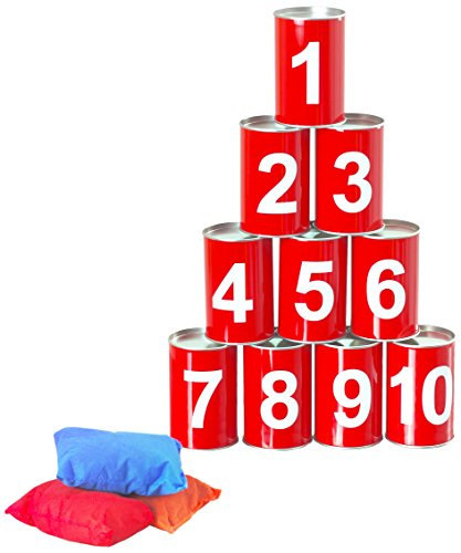 Garden Games Tin Can Alley - 10 Real Metal Tin Cans With Safe, Soft Throwing Bags
