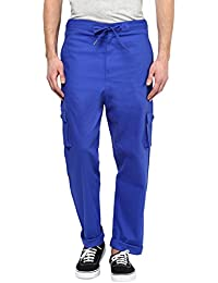 Hypernation Royal Blue Color Cotton Trouser For Men