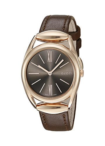 Gucci Horsebit Quartz Metal and Leather Automatic Brown Women's Watch(Model: YA140408)