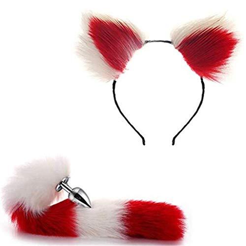 Jjek Cos-Fox Metal Tail Plüsch und Lace Kopfschmuck Cat Ears (Red & White) Glamour Damen Maskerade Pro Set (White Cat Kostüm Kit)