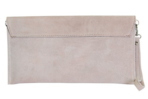 AMBRA Moda Pochette da giorno da donna Borse a mano clutch in vera pelle scamosciata WL811 rosa antico