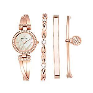 Anne Klein Ladies níquel Free 4 PC. Rose Gold-Tone Box Set with Swarovski Crystal Accents