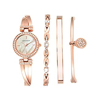 Anne Klein Ladies níquel Free 4PC. Rose Gold-Tone Box Set with Swarovski Crystal Accents