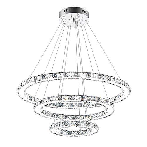 SAILUN® 73W 3 anillos Lámpara Colgante LED de Cristal Araña Moderna Lámpara Colgante Lámpara de Techo Blanco Cálido Iluminación Interior para comedor dormitorio salón (73W Blanco frío)