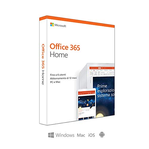 Microsoft Office 365 Home | fino a 6 persone | 1 abbonamento annuale | si installa PC/Mac su un numero illimitato di dispositivi | scato