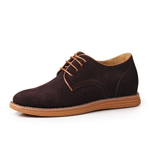 Feidaeu Homme Chaussure à Lacet en Suédé Dépoli Loisirs Quotidien Hidden Wedge Bout Rond Plat Anti-Dérapant Mocassin Derby brun foncé